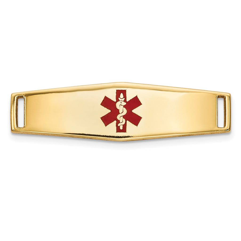 Epoxy Enameled Medical ID Ctr Soft Diamond Shape Plate # 816 14k Gold MPN: XM639