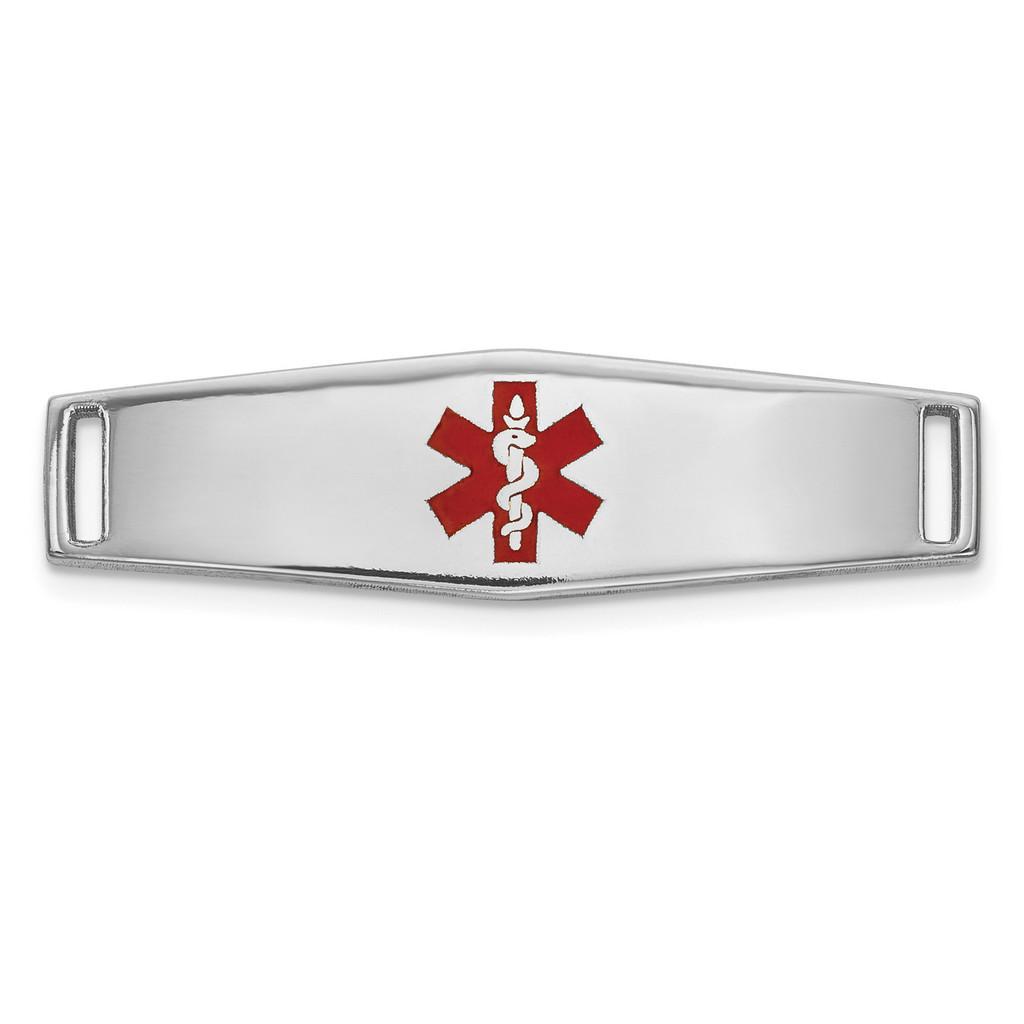 Epoxy Enameled Medical ID Ctr Soft Diamond Shape Plate # 816 14k white Gold MPN: XM639W