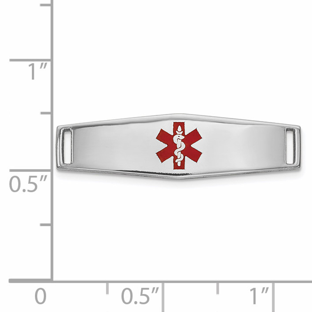Epoxy Enameled Medical ID Ctr Soft Diamond Shape Plate # 816 14k white Gold XM639W