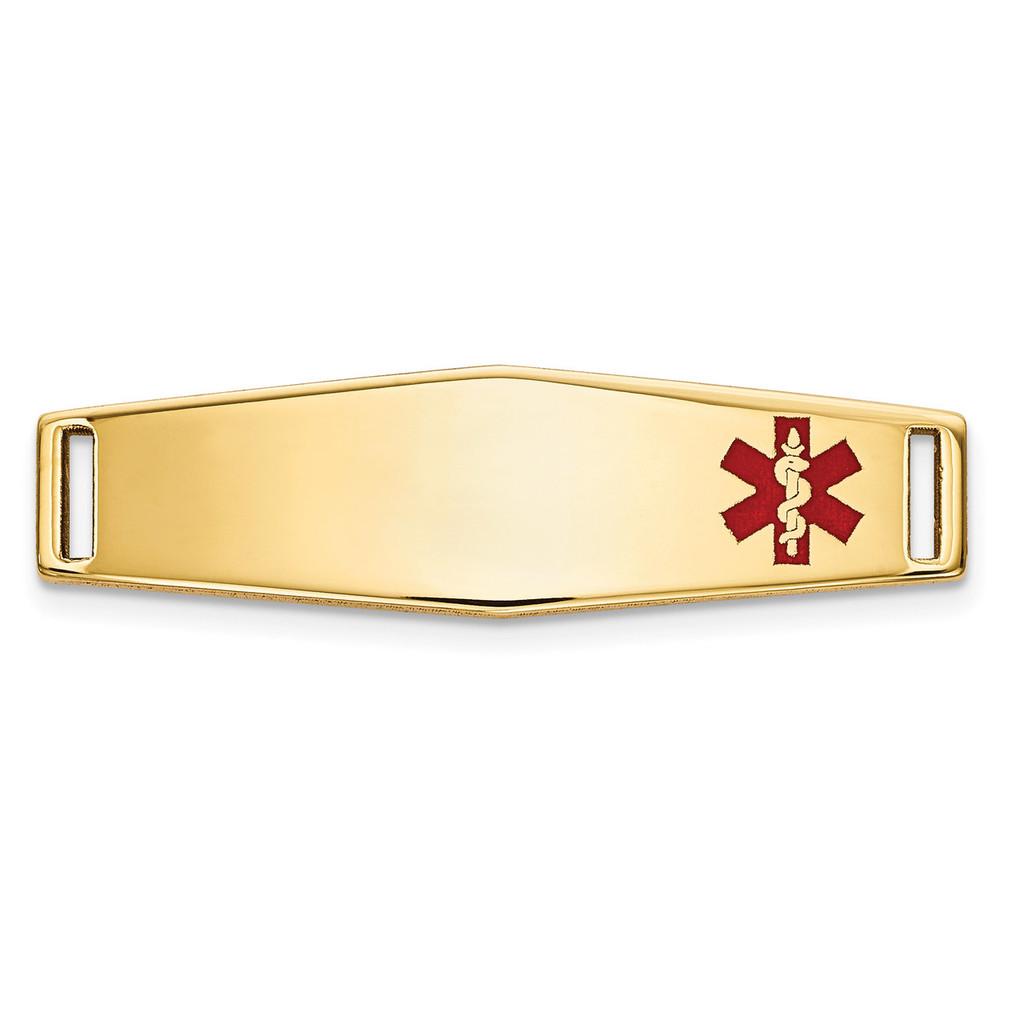 Epoxy Enameled Medical ID Off Ctr Soft Diamond Shape Plate # 816 14k Gold MPN: XM641