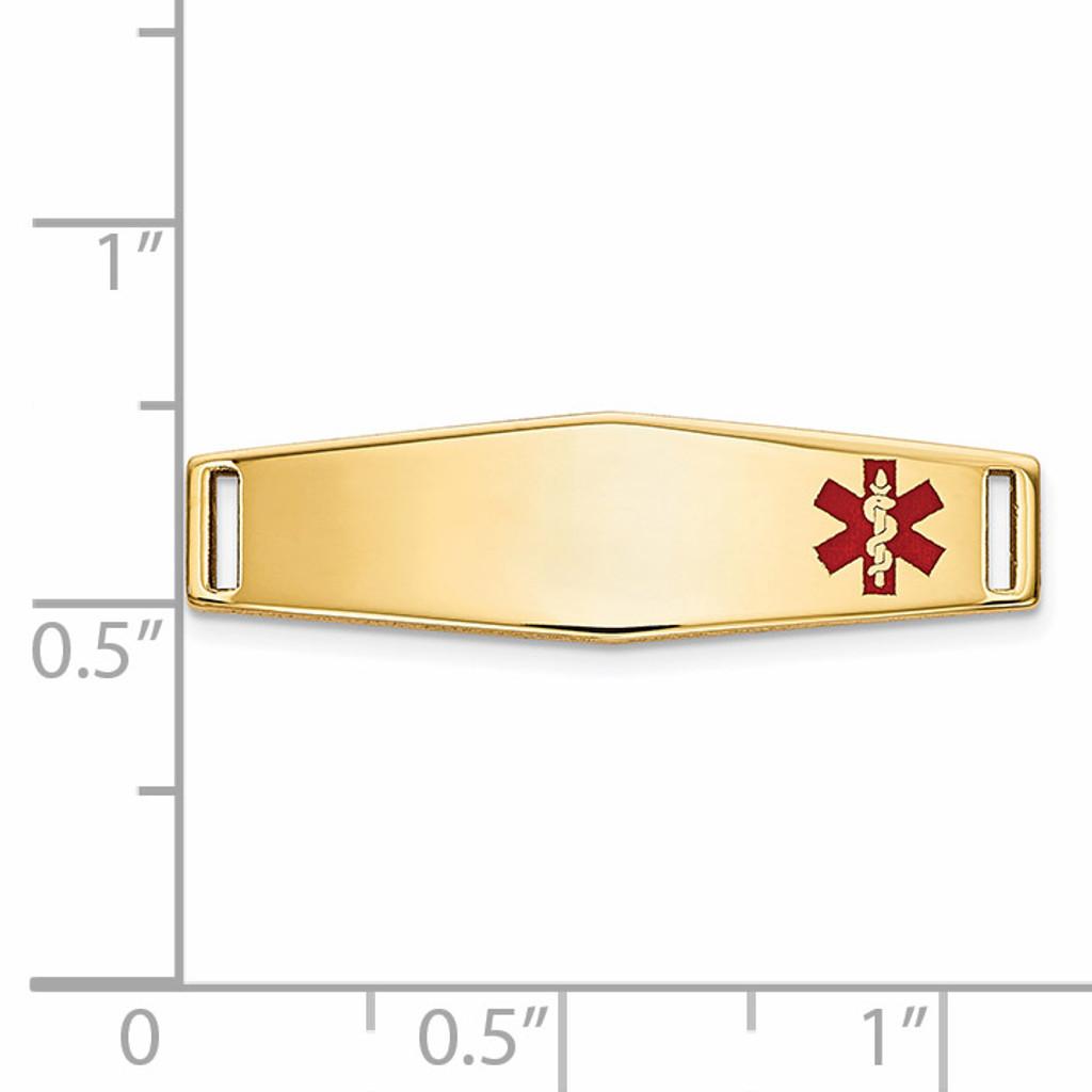Epoxy Enameled Medical ID Off Ctr Soft Diamond Shape Plate # 816 14k Gold XM641
