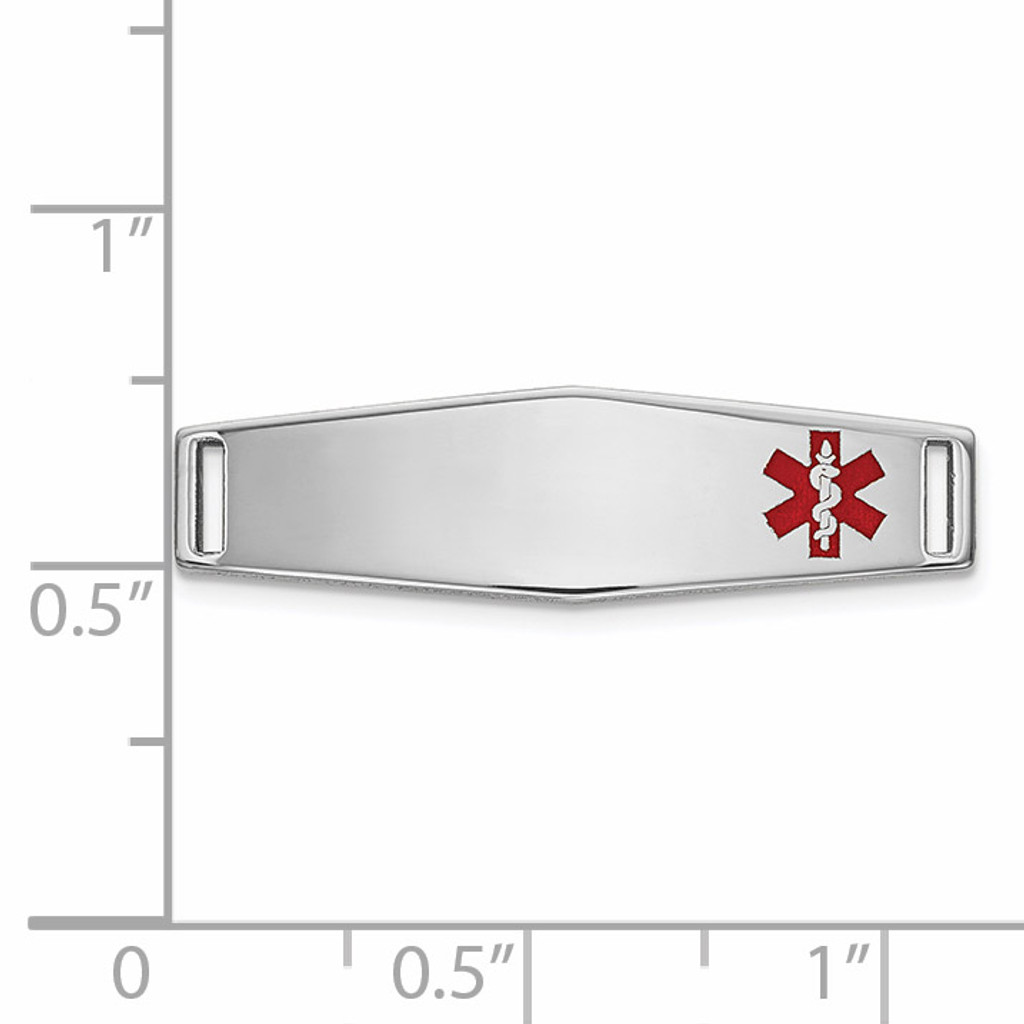 Epoxy Enameled Medical ID Off Ctr Soft Diamond Shape Plate # 816 14k white Gold XM641W