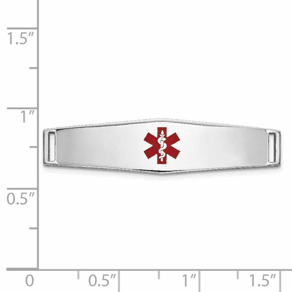 Epoxy Enameled Medical ID Ctr Soft Diamond Shape Plate # 817 14k white Gold XM643W