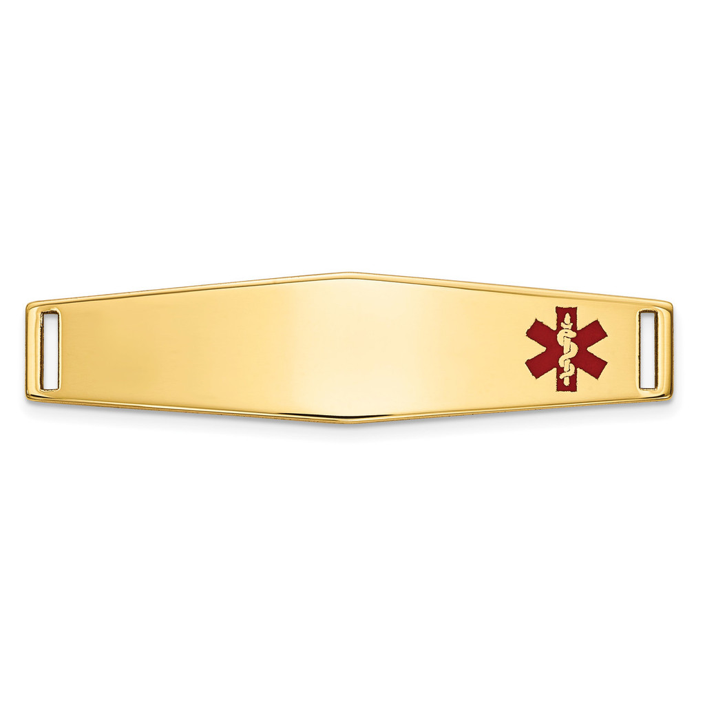 Epoxy Enameled Medical ID Off Ctr Soft Diamond Shape Plate # 817 14k Gold MPN: XM645