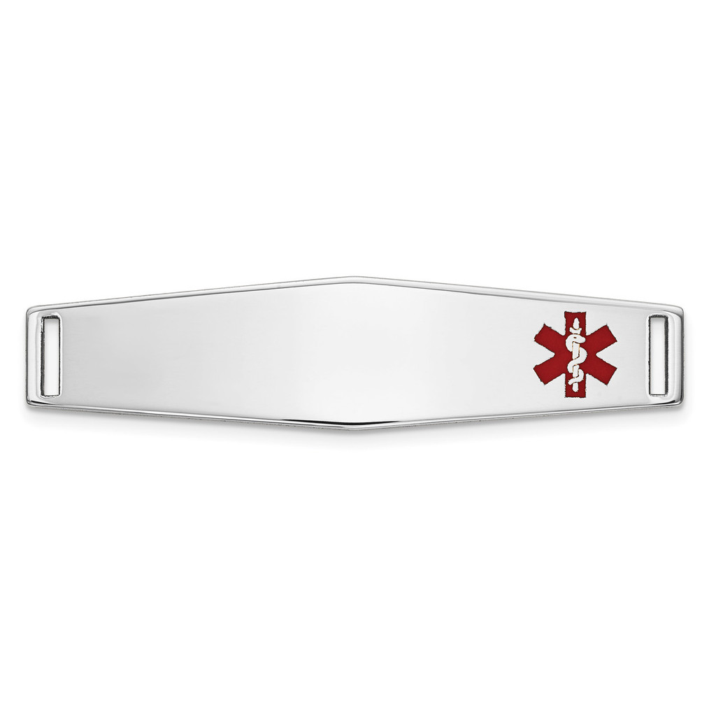 Epoxy Enameled Medical ID Off Ctr Soft Diamond Shape Plate # 817 14k white Gold MPN: XM645W