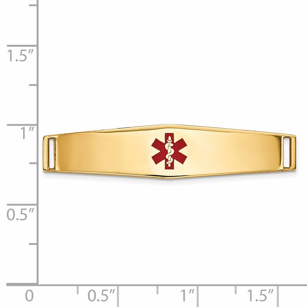 Epoxy Enameled Medical ID Ctr Soft Diamond Shape Plate # 818 14k Gold XM647