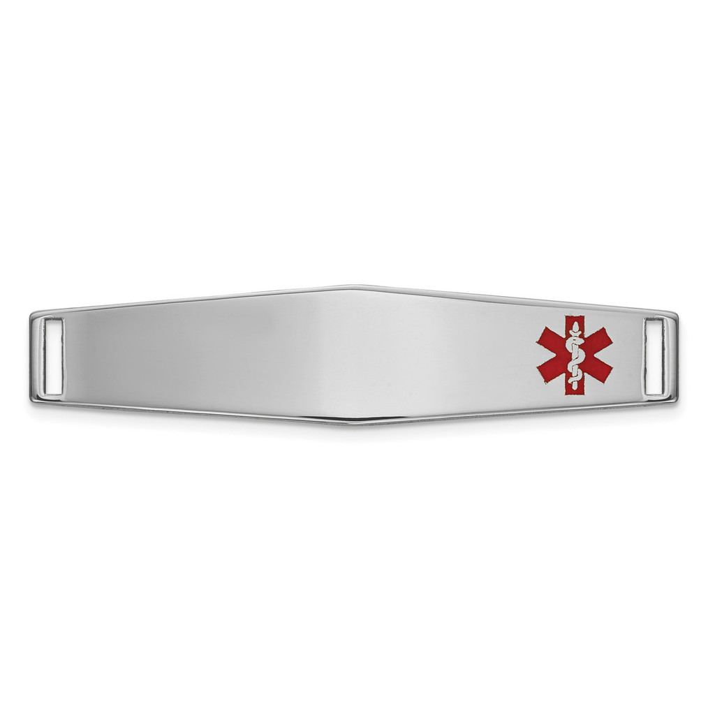 Epoxy Enameled Medical ID Off Ctr Soft Diamond Shape Plate # 818 14k white Gold MPN: XM649W