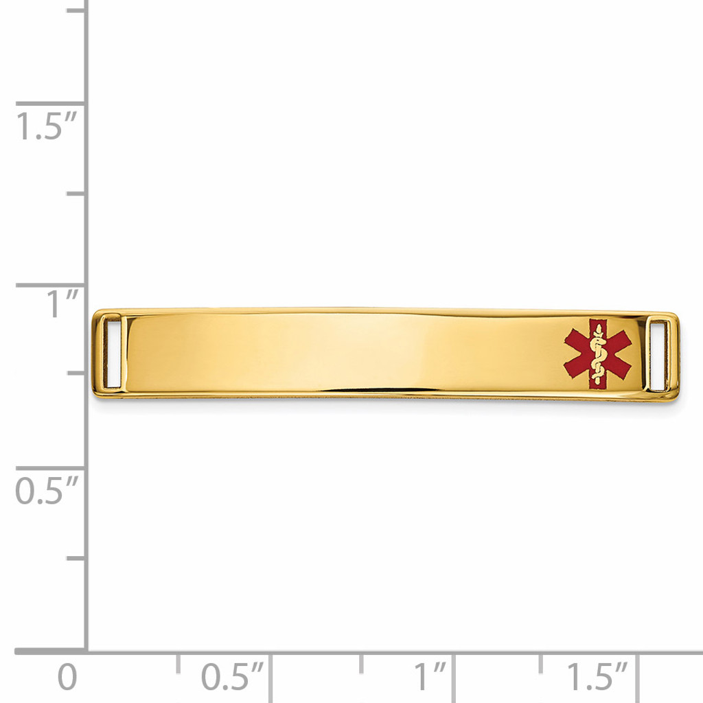 Epoxy Enameled Medical ID Off Ctr Plate # 818 14k Gold XM650