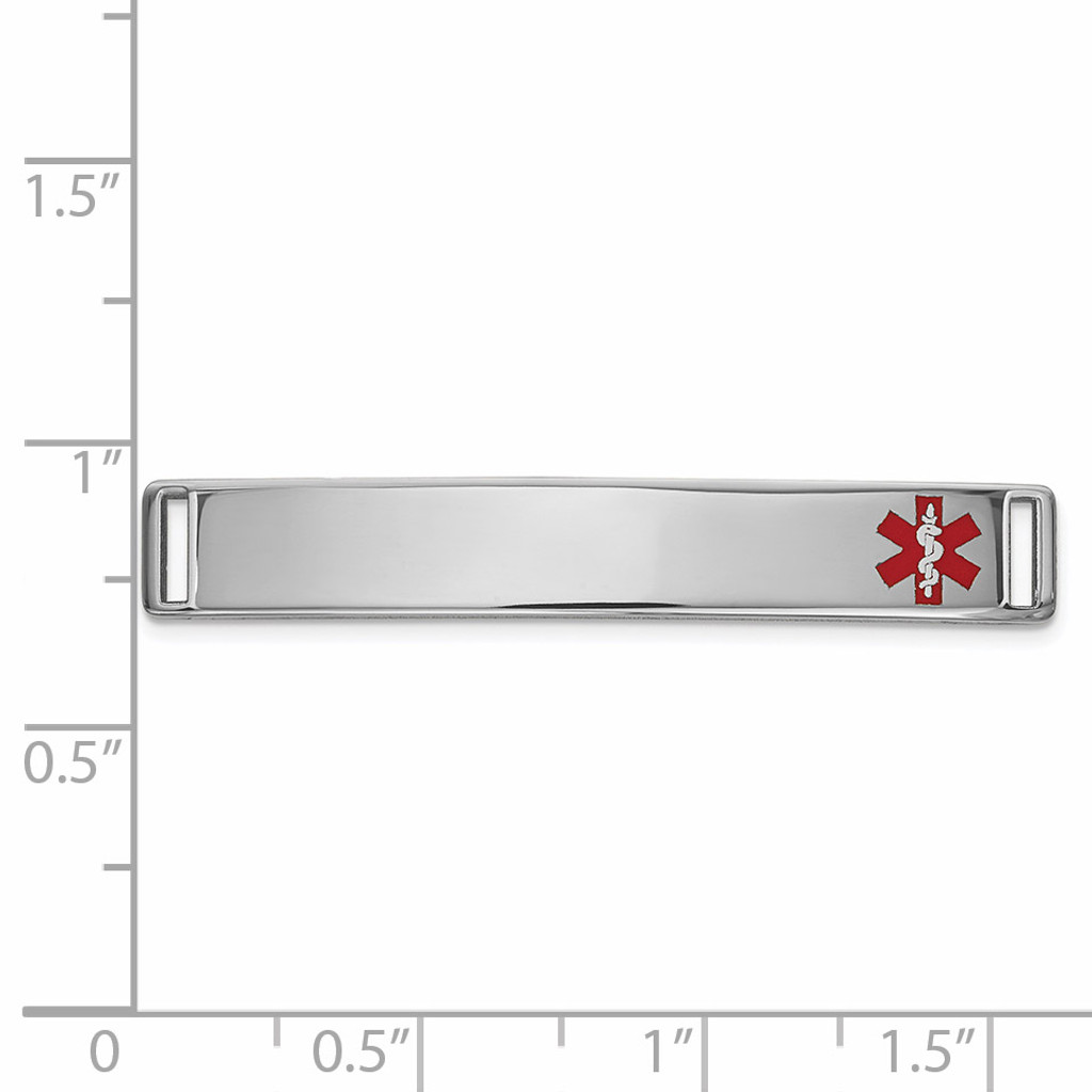 Epoxy Enameled Medical ID Off Ctr Plate # 818 14k white Gold XM650W