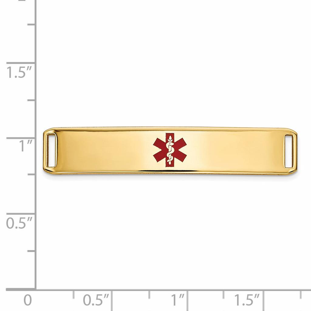 Epoxy Enameled Medical ID Ctr Plate # 819 14k Gold XM652