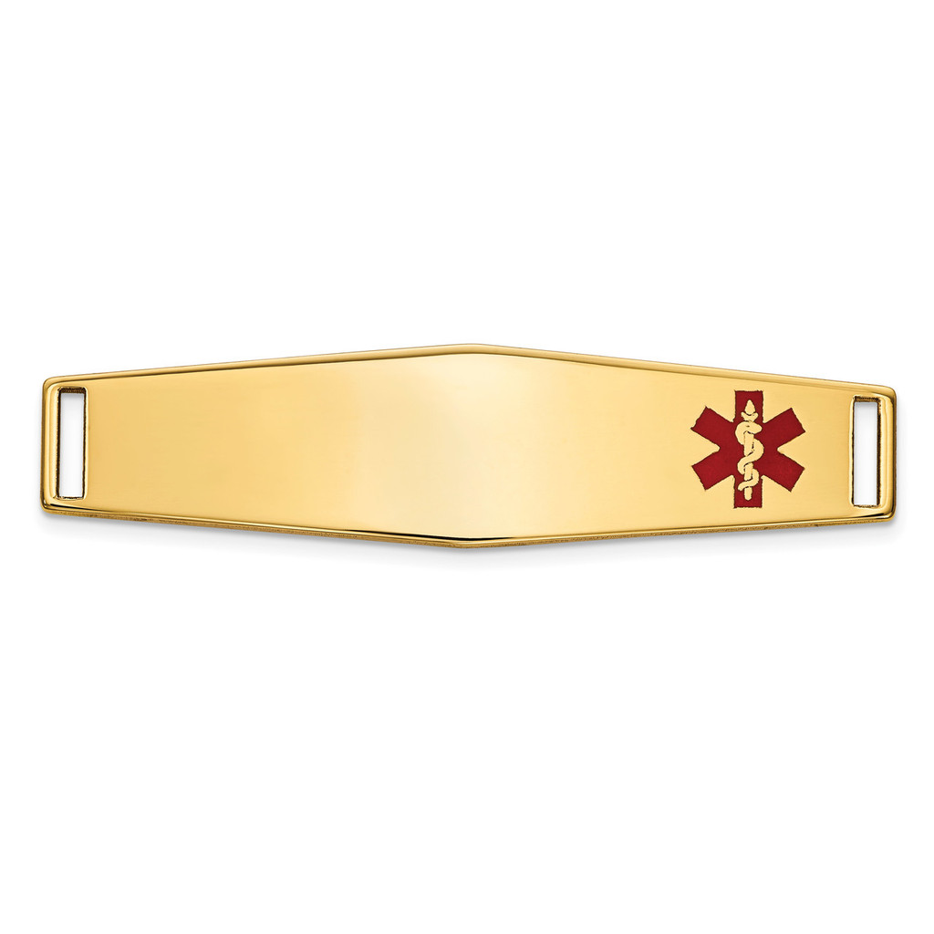 Epoxy Enameled Medical ID Off Ctr Soft Diamond Shape Plate # 819 14k Gold MPN: XM653