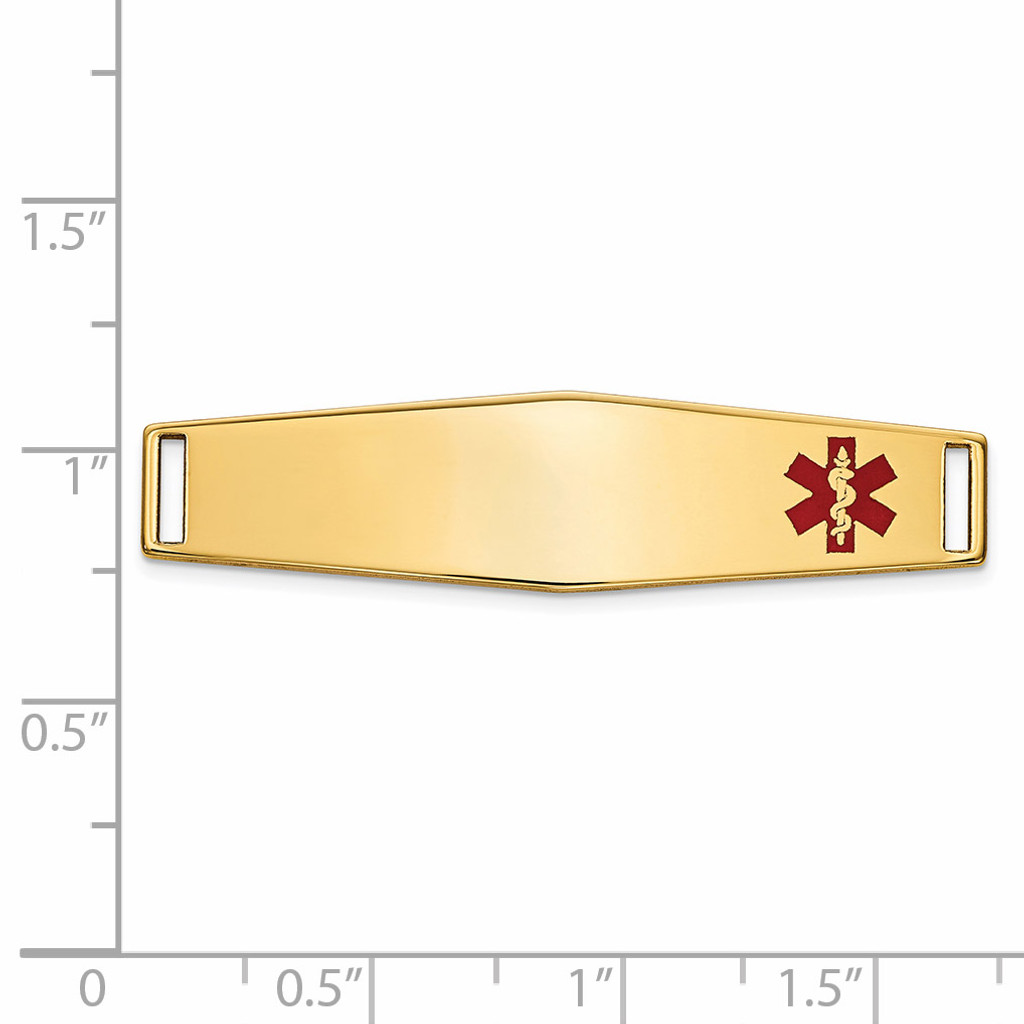 Epoxy Enameled Medical ID Off Ctr Soft Diamond Shape Plate # 819 14k Gold XM653