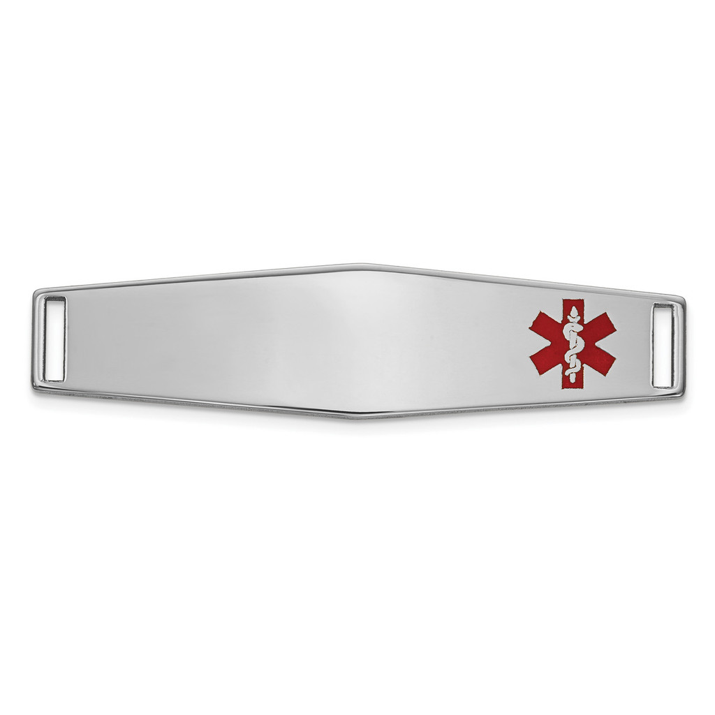 Epoxy Enameled Medical ID Off Ctr Soft Diamond Shape Plate # 819 14k white Gold MPN: XM653W