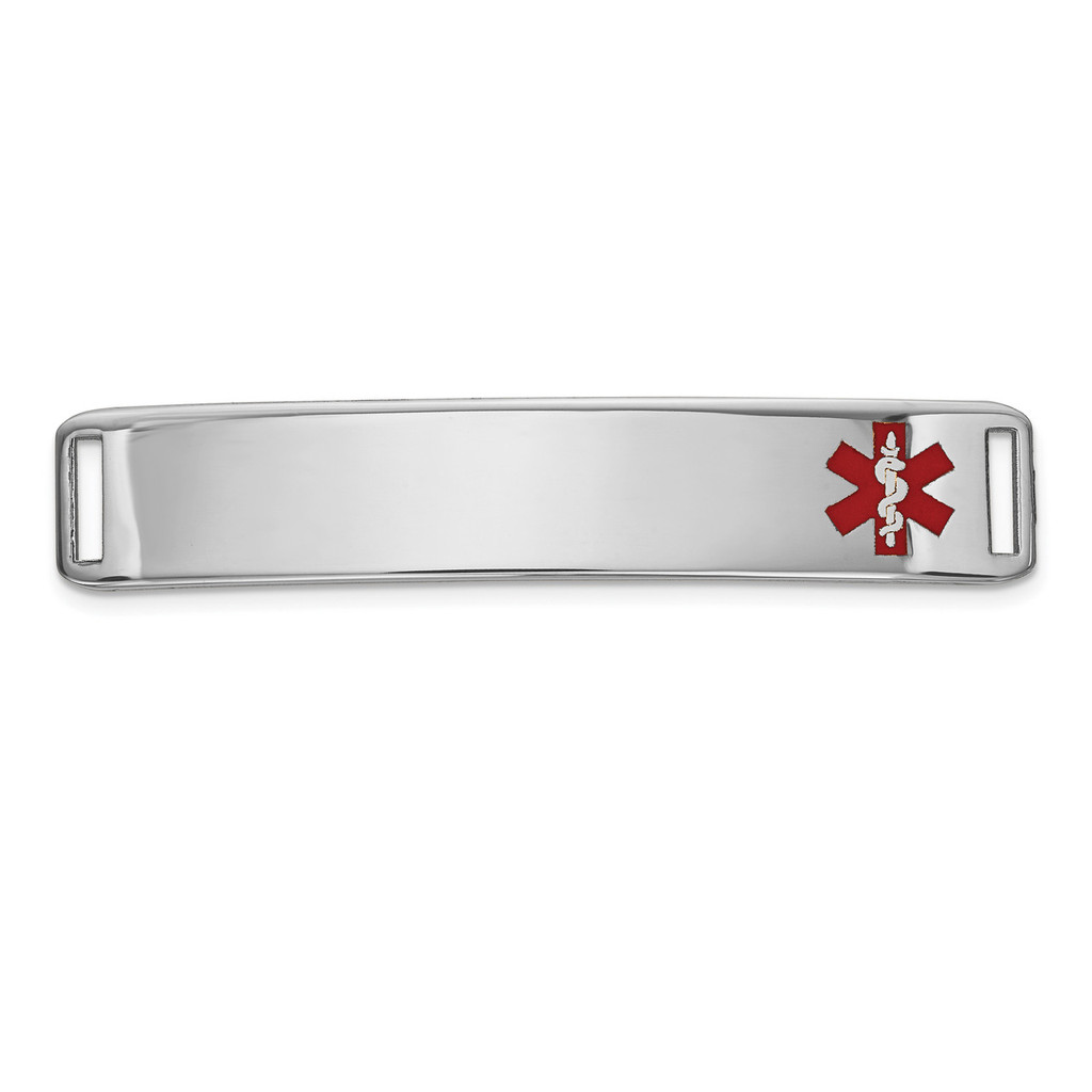 Epoxy Enameled Medical ID Off Ctr Plate # 819 14k white Gold MPN: XM654W