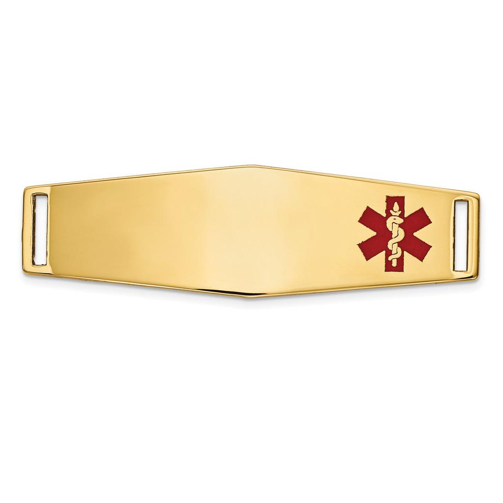 Epoxy Enameled Medical ID Off Ctr Soft Diamond Shape Plate # 820 14k Gold MPN: XM657
