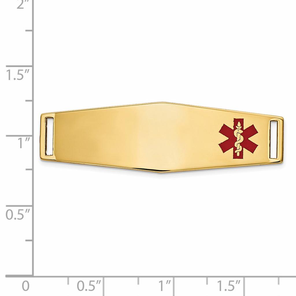 Epoxy Enameled Medical ID Off Ctr Soft Diamond Shape Plate # 820 14k Gold XM657