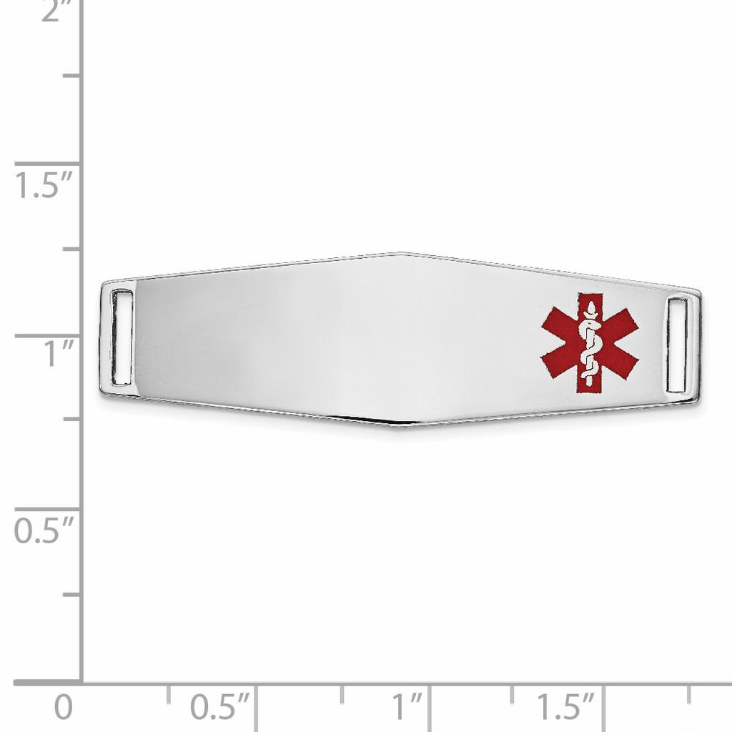 Epoxy Enameled Medical ID Off Ctr Soft Diamond Shape Plate # 820 14k white Gold XM657W