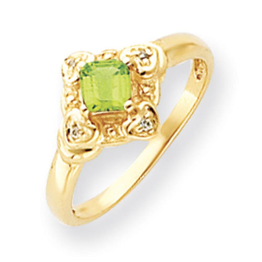 4mm Princess Cut Peridot Diamond Ring 14k Gold MPN: Y4701PE/A UPC: 883957581132