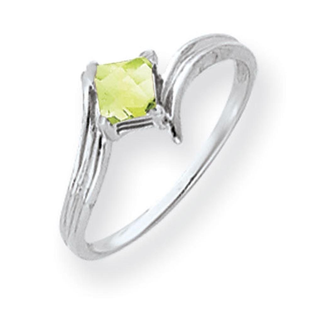 Peridot Ring 14k white Gold 4mm Princess Cut MPN: Y4782PE UPC: 883957667256