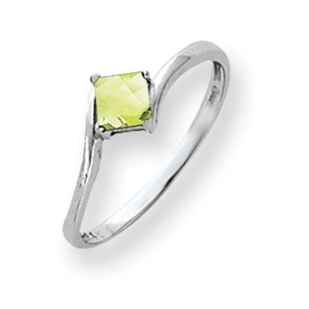 Peridot Ring 14k white Gold 4mm Princess Cut MPN: Y4785PE UPC: 883957667249
