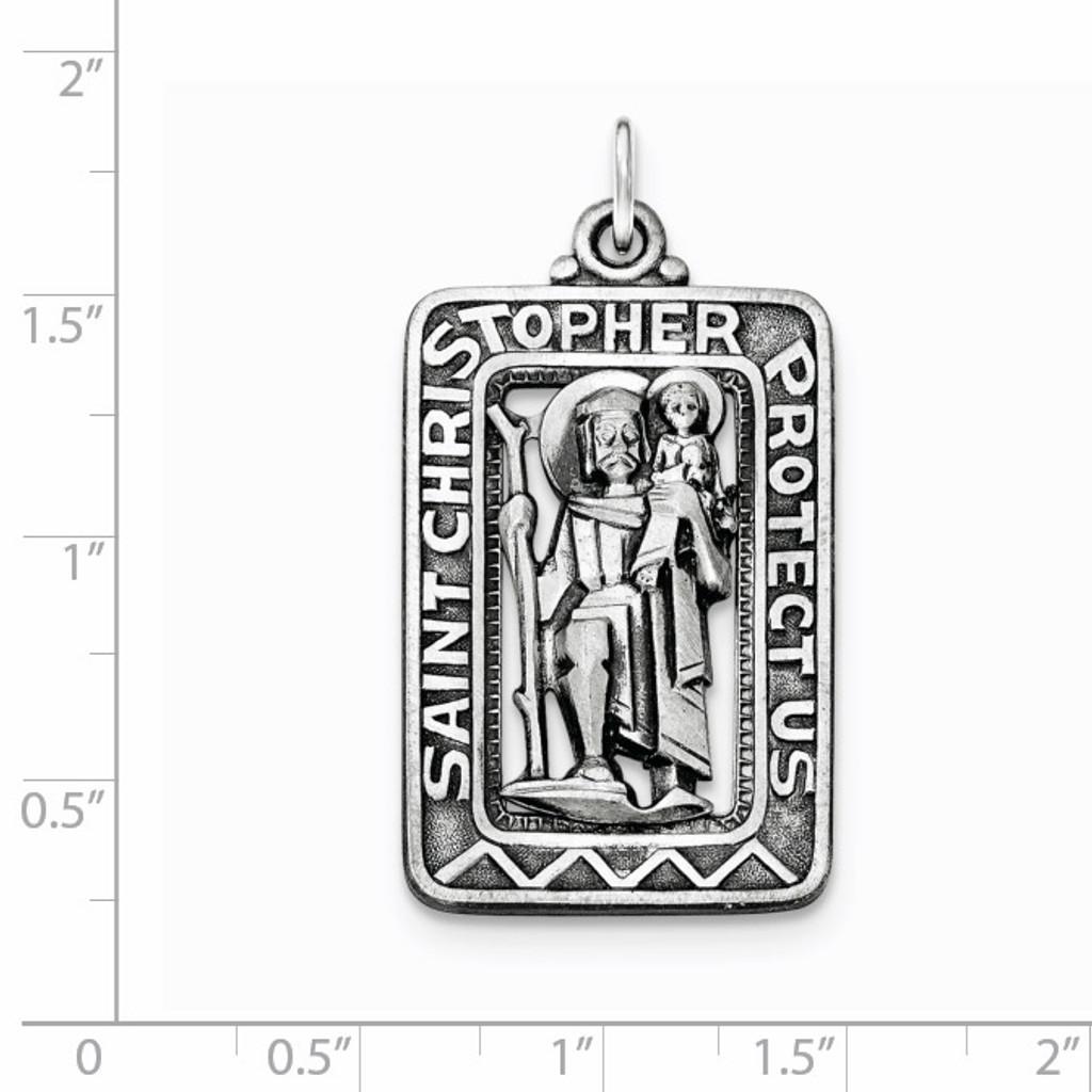 Brushed Saint Christopher Medal Sterling Silver Antiqued QC8377