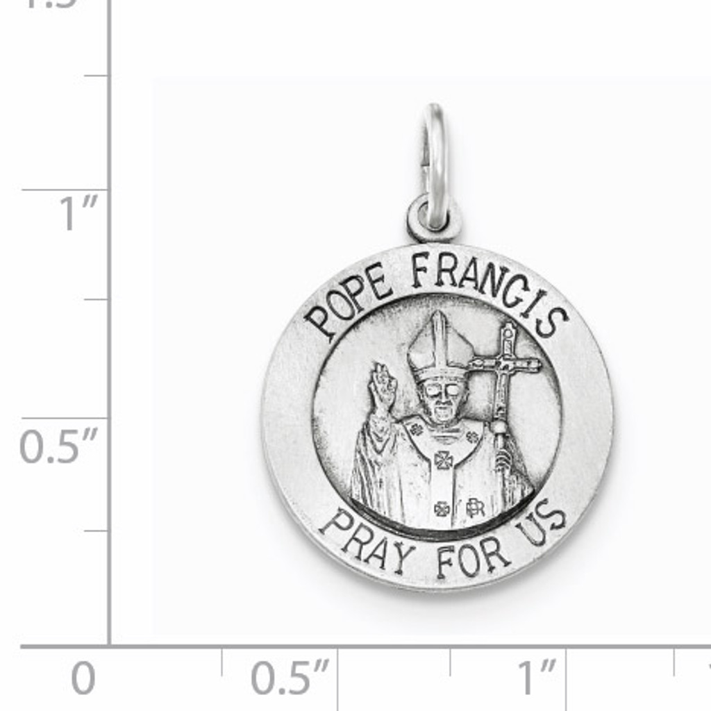Brushed Pope Francis Medal Sterling Silver Antiqued QC8427