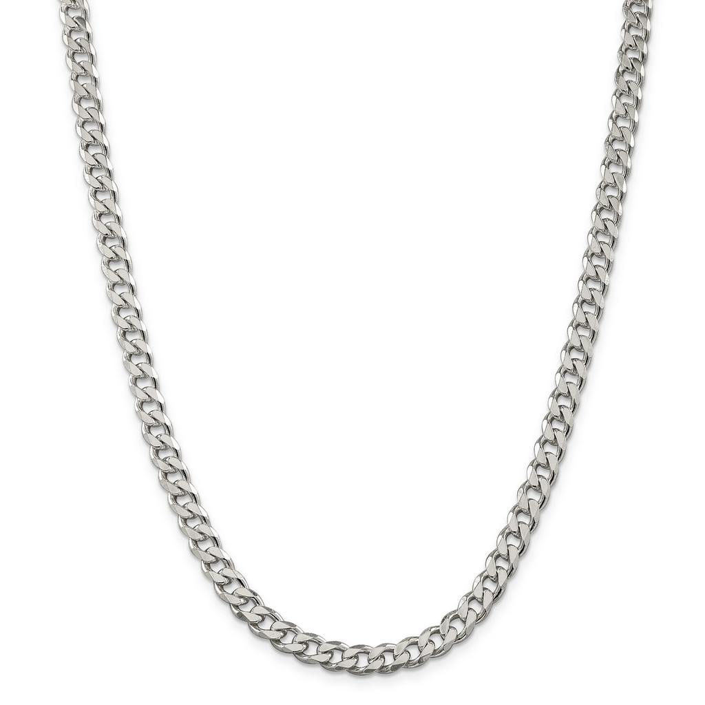 26 Inch 7mm Curb Chain Sterling Silver MPN: QCB180-26