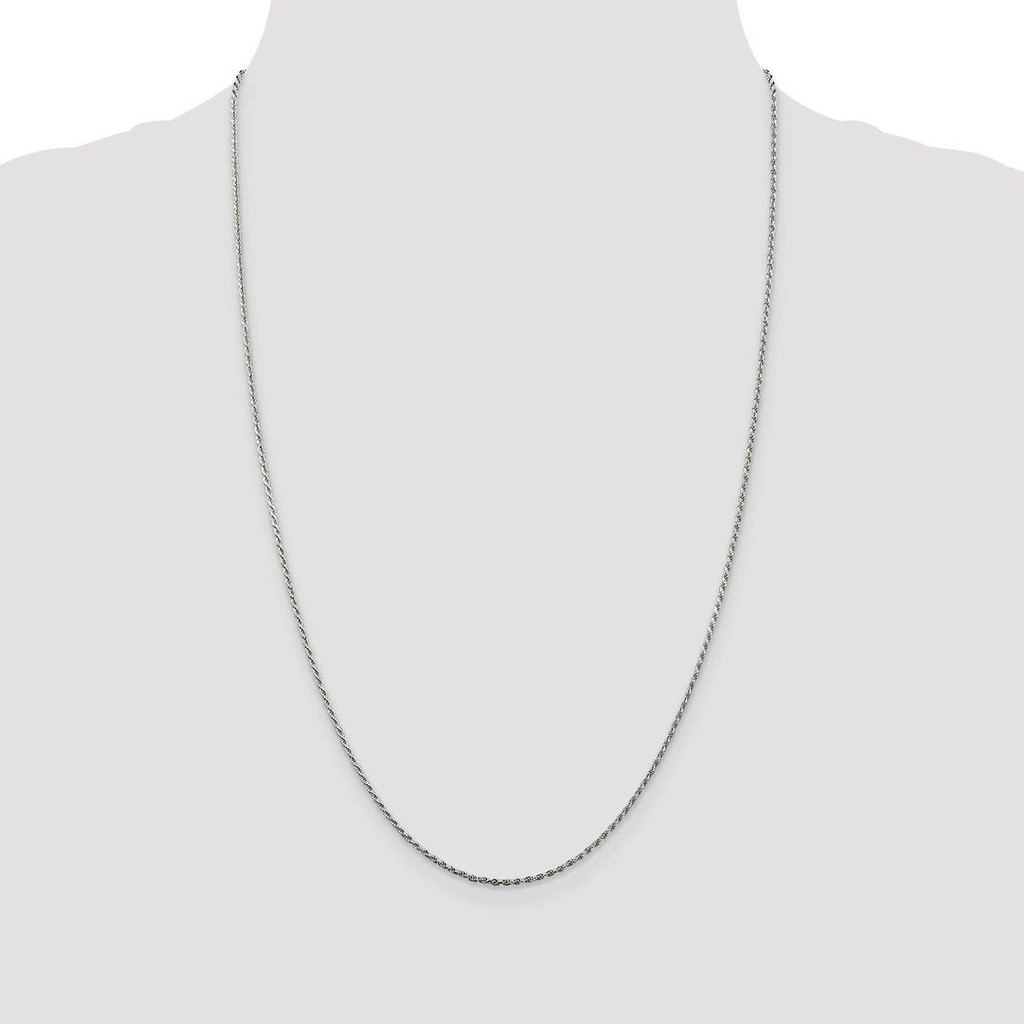 22 Inch 1.5mm Diamond-cut Rope Chain Sterling Silver QDC020-22