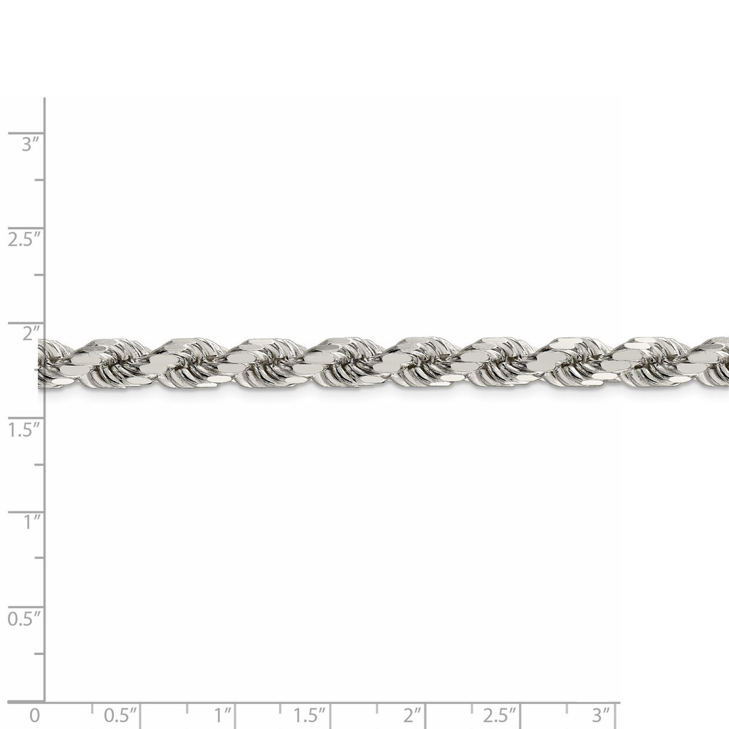 28 Inch 7mm Diamond-cut Polished 8 Sides Rope Chain Sterling Silver QDC140-28
