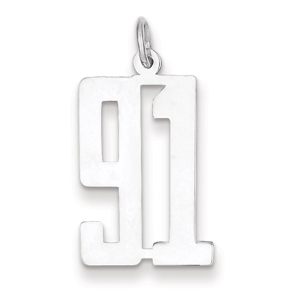 Charm Number 91 Elongated Pol Sterling Silver Small MPN: QES91, UPC: 191101274169
