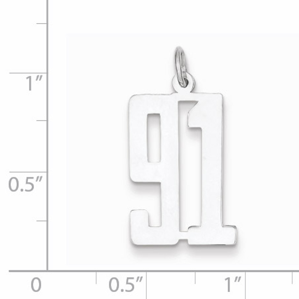 Charm Number 91 Elongated Pol Sterling Silver Small QES91