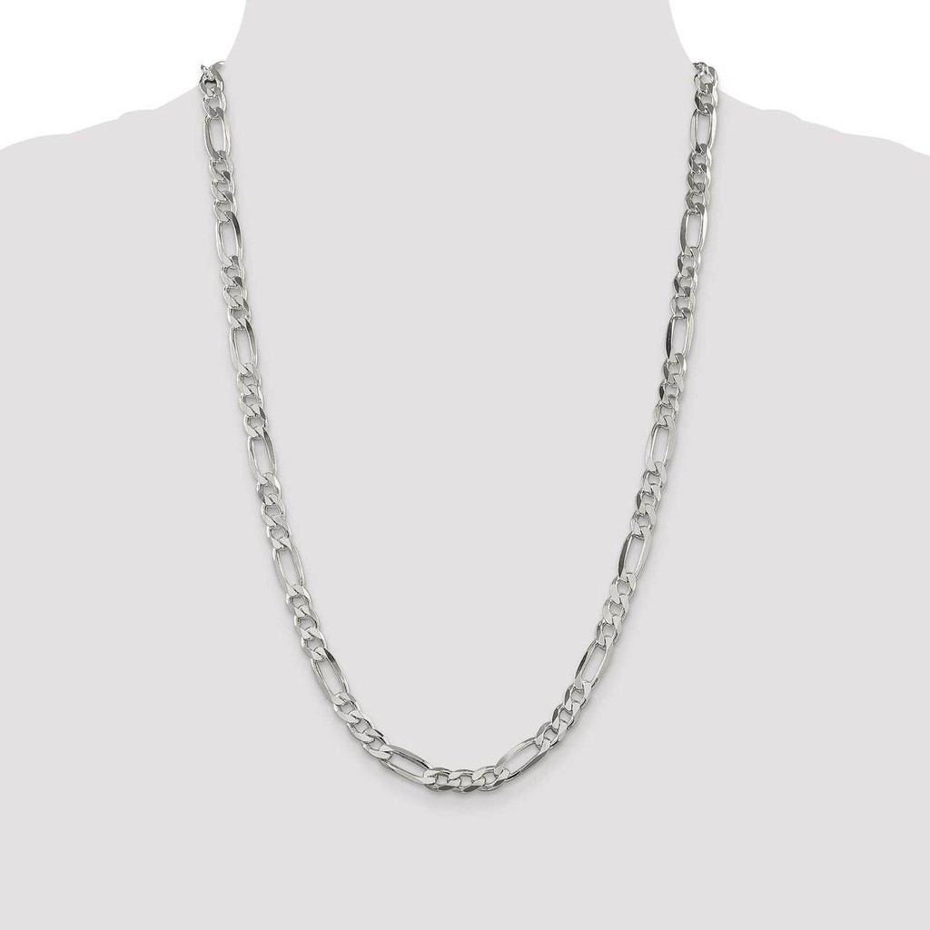 26 Inch 6.5mm Figaro Chain Sterling Silver QFG180-26