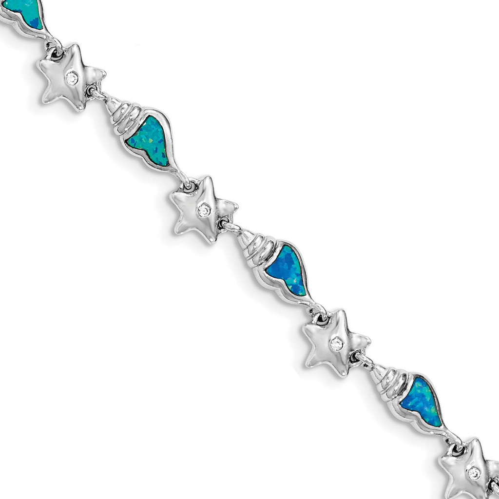 Starfish with CZ & Created Blue Opal Seashell Bracelet 7.25 Inch Sterling Silver Rhodium MPN: QG3987-7.25
