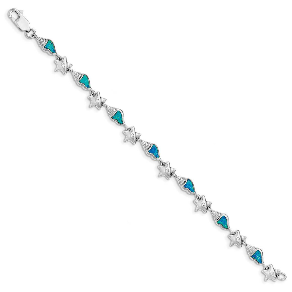 Starfish with CZ Diamond & Created Blue Opal Seashell Bracelet 7.25 Inch Sterling Silver Rhodium QG3987-7.25