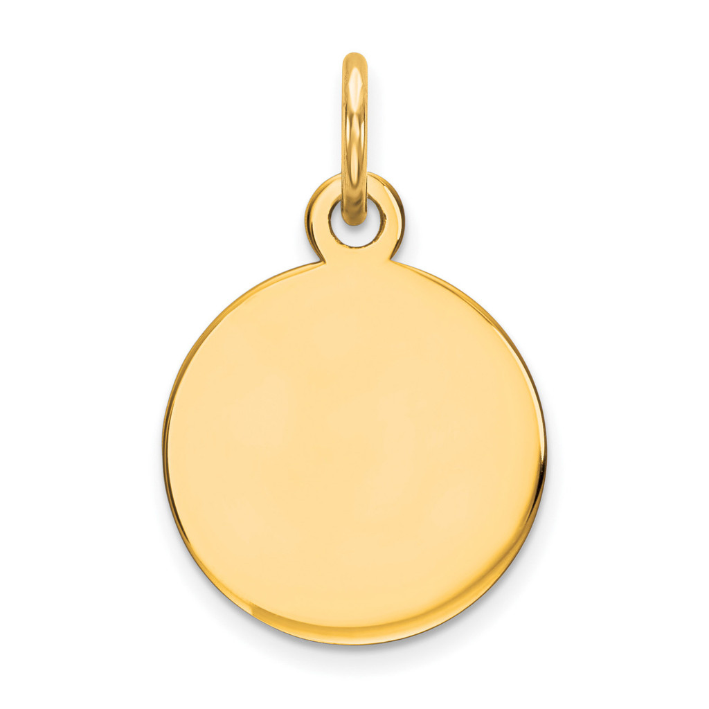 Engravable Round Polished Disc Charm Sterling Silver Gold-plated MPN: QM497G/27