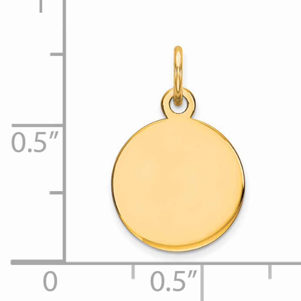 Engravable Round Polished Disc Charm Sterling Silver Gold-plated QM497G/27