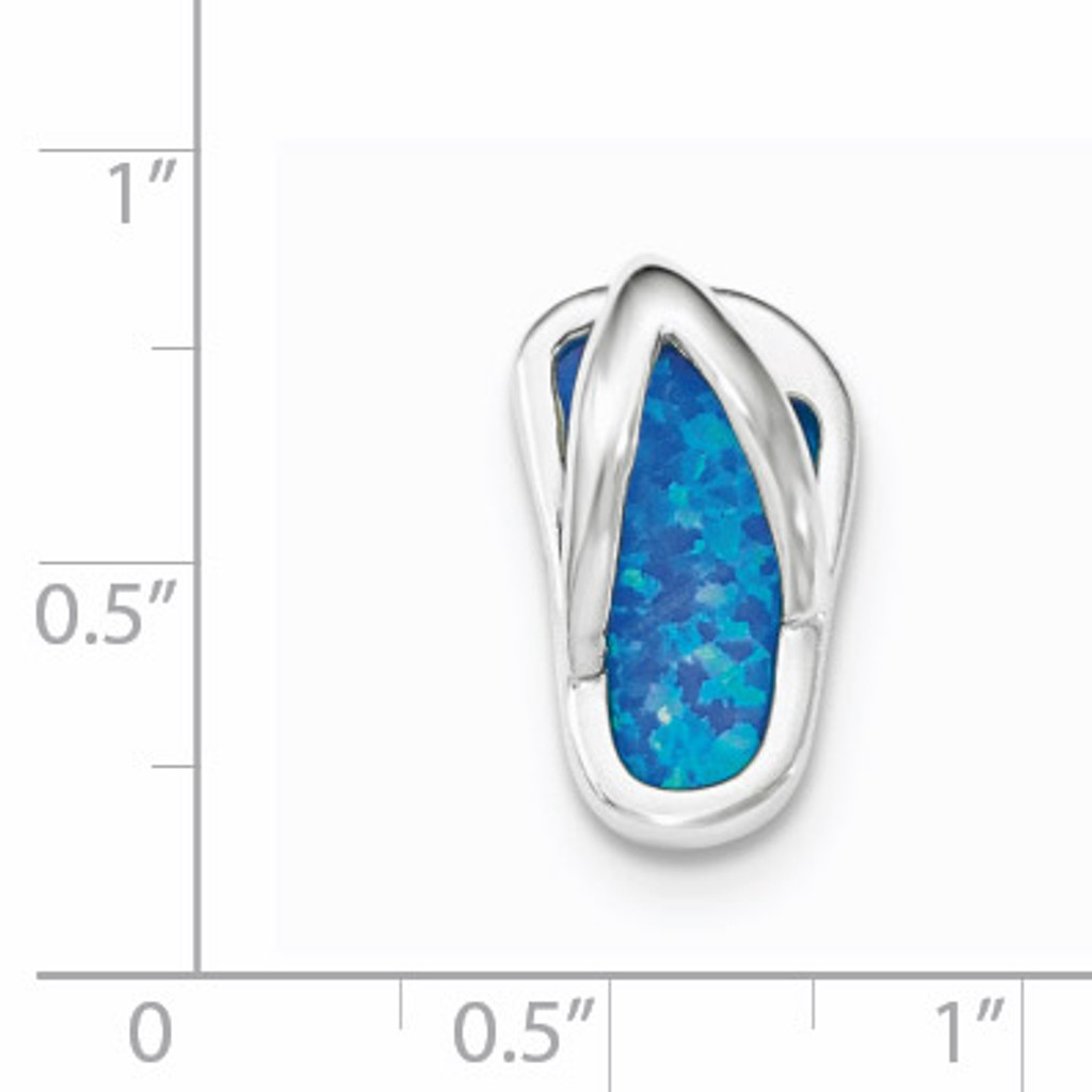 Created Blue Opal Flip-Flop Slide Sterling Silver Rhodium QP4287