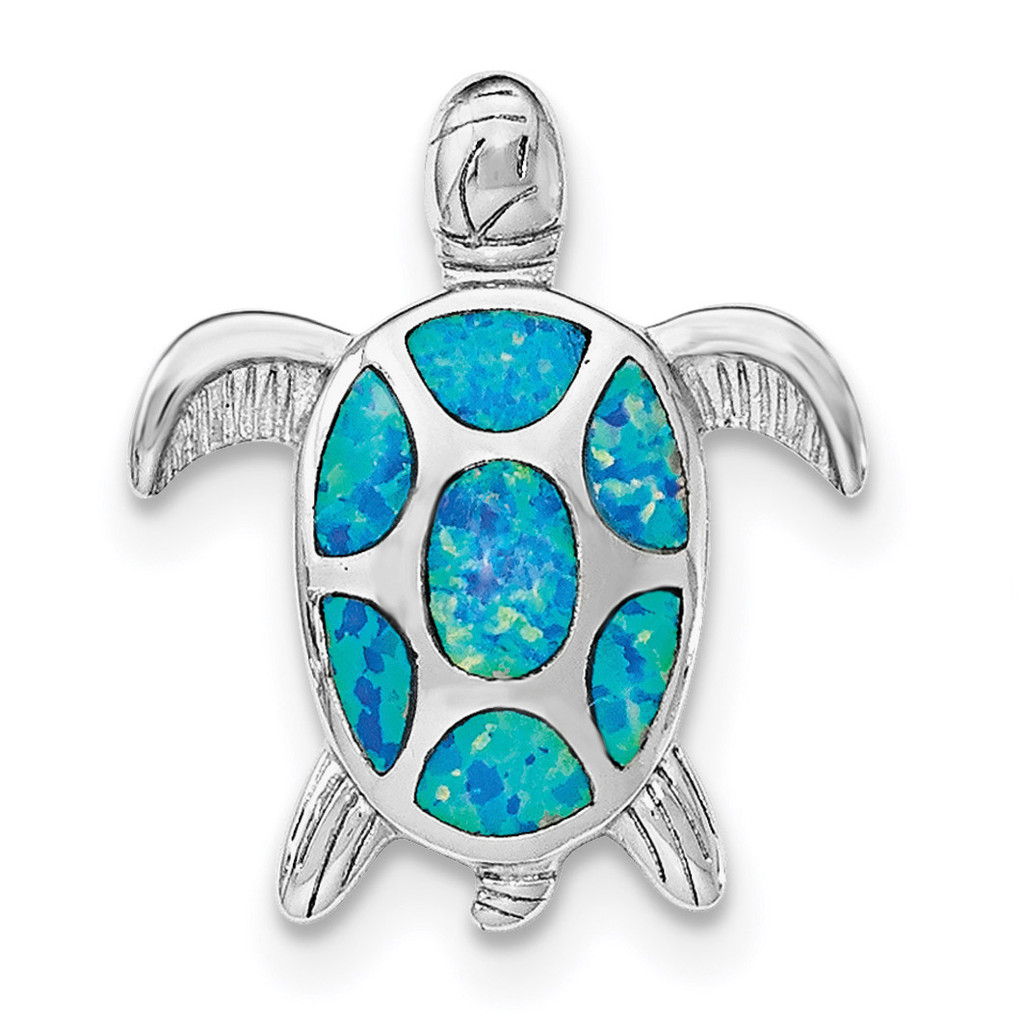 Created Blue Opal Turtle Slide Sterling Silver Rhodium MPN: QP4288