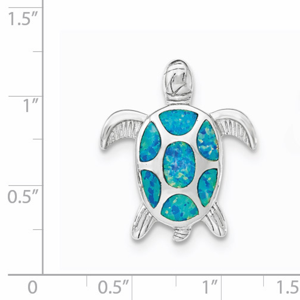 Created Blue Opal Turtle Slide Sterling Silver Rhodium QP4288