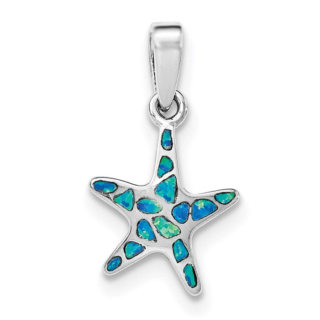 Created Blue Opal Starfish Pendant Sterling Silver Rhodium MPN: QP4294