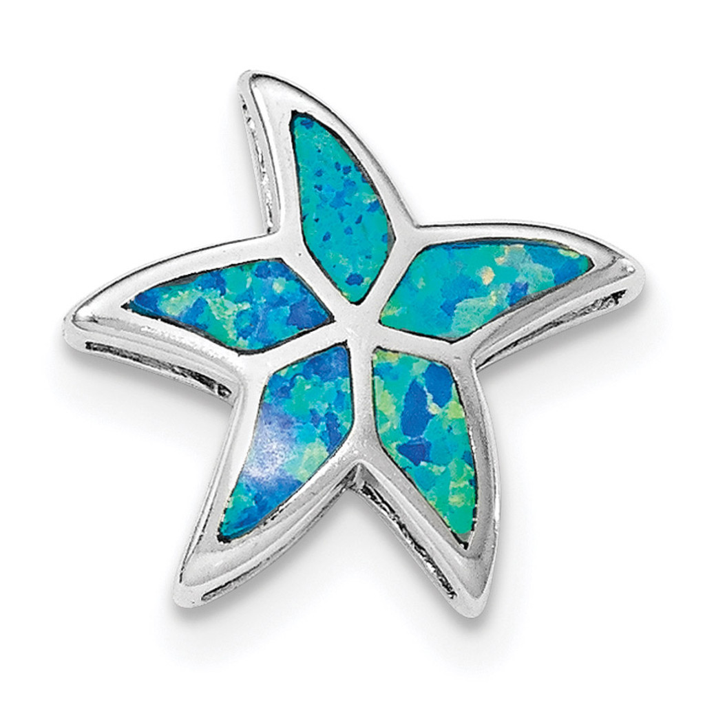 Created Blue Opal Starfish Slide Sterling Silver Rhodium MPN: QP4296