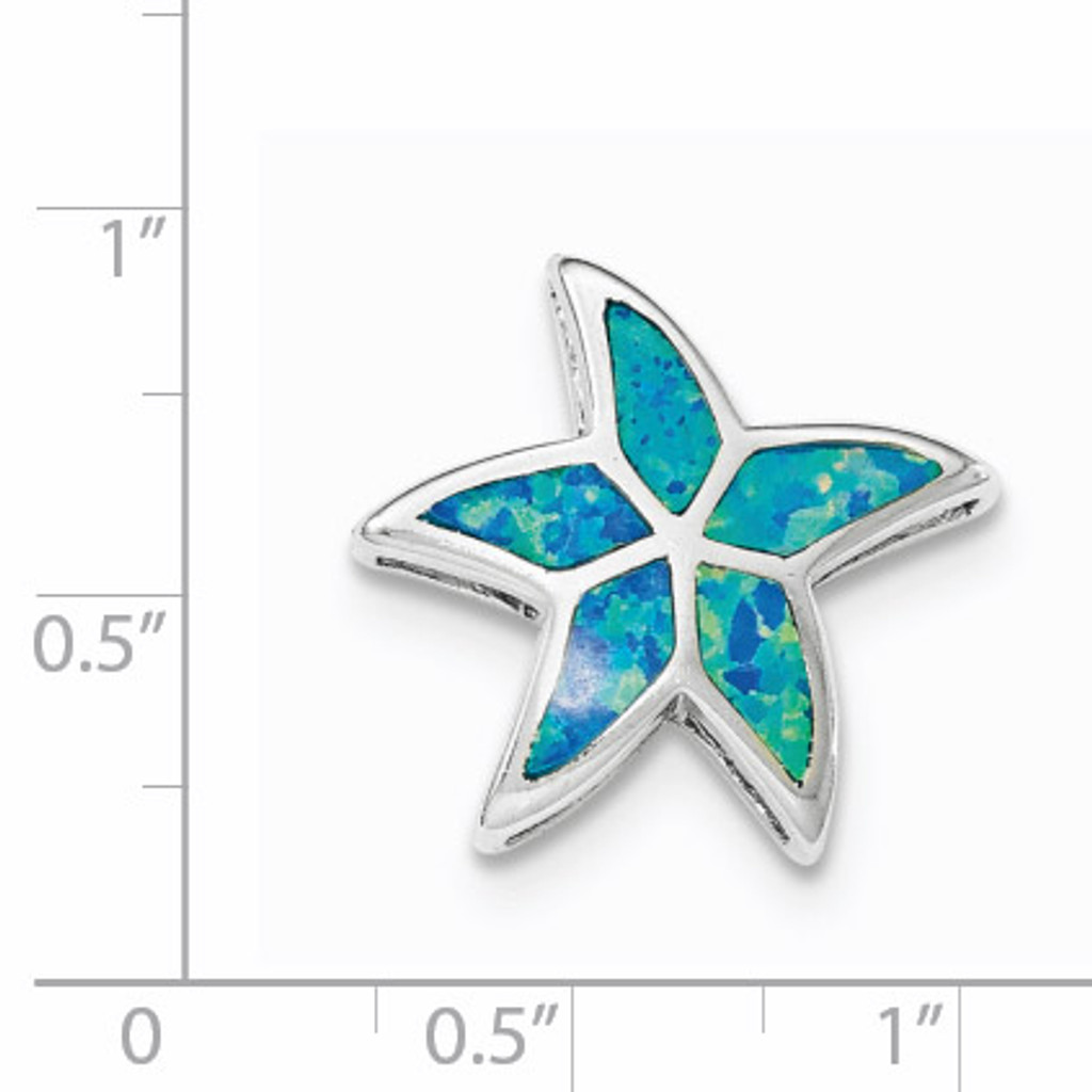 Created Blue Opal Starfish Slide Sterling Silver Rhodium QP4296