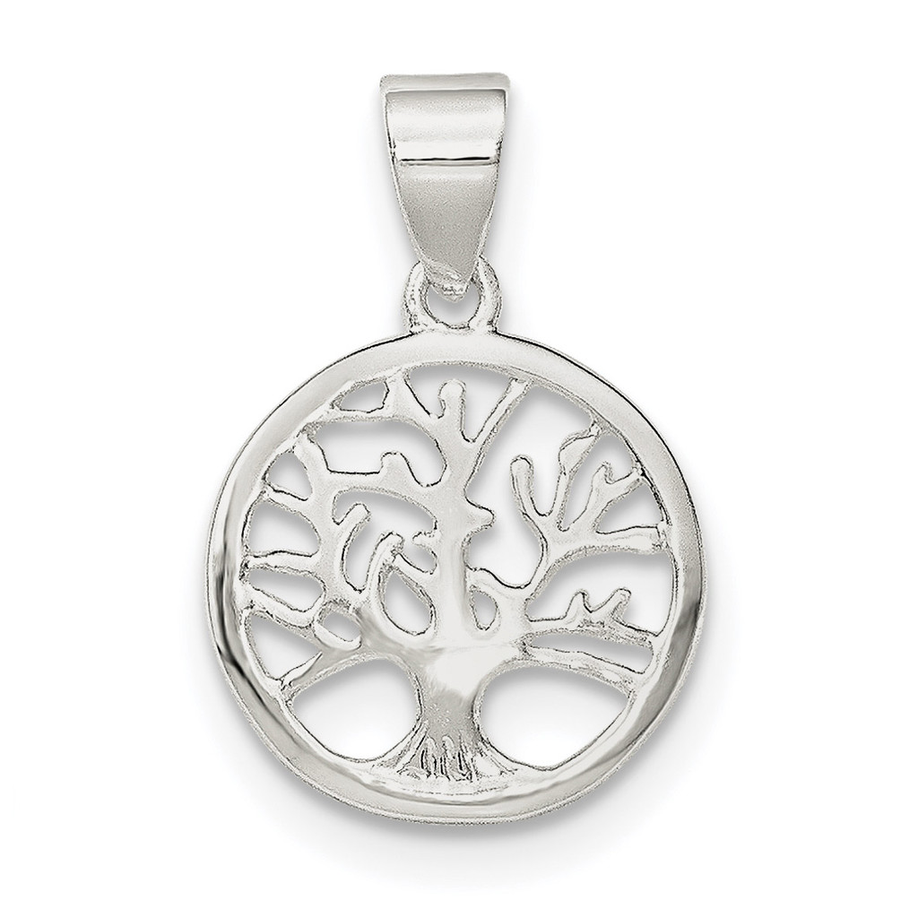 Round Tree Pendant Sterling Silver Polished MPN: QP4319, UPC: 191101362606