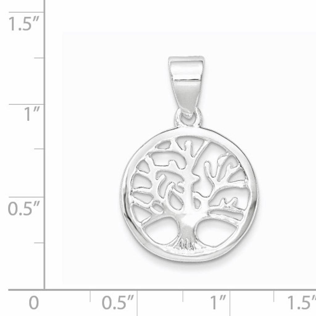 Round Tree Pendant Sterling Silver Polished QP4319