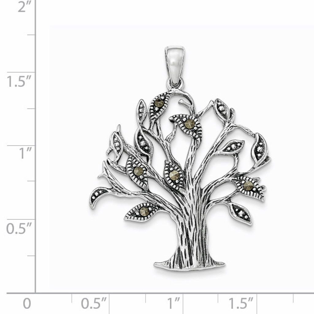 Oxidized with Marcasite Tree Pendant Sterling Silver QP4322