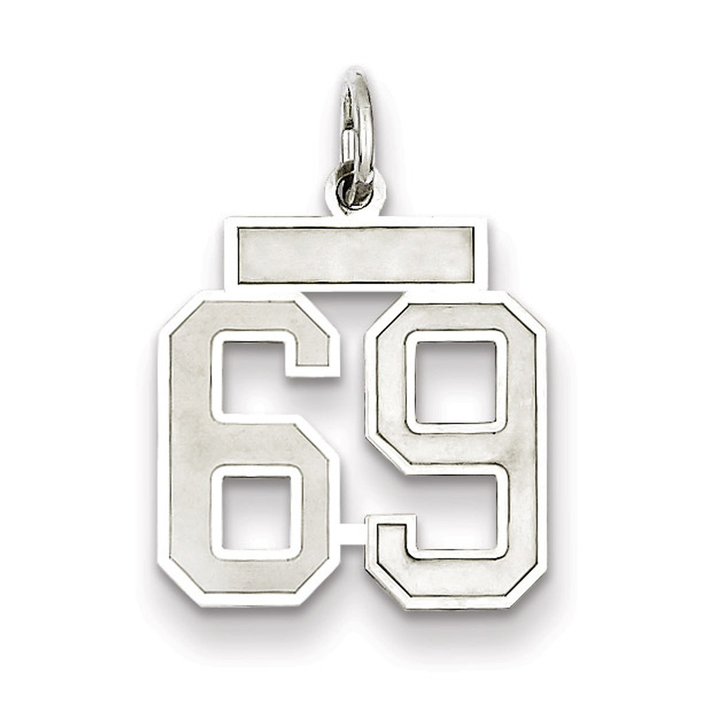 Charm Number 69 Satin Sterling Silver Small MPN: QPS69, UPC: 191101282973