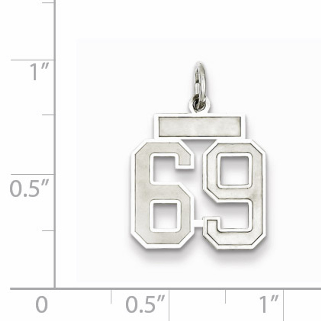 Charm Number 69 Satin Sterling Silver Small QPS69
