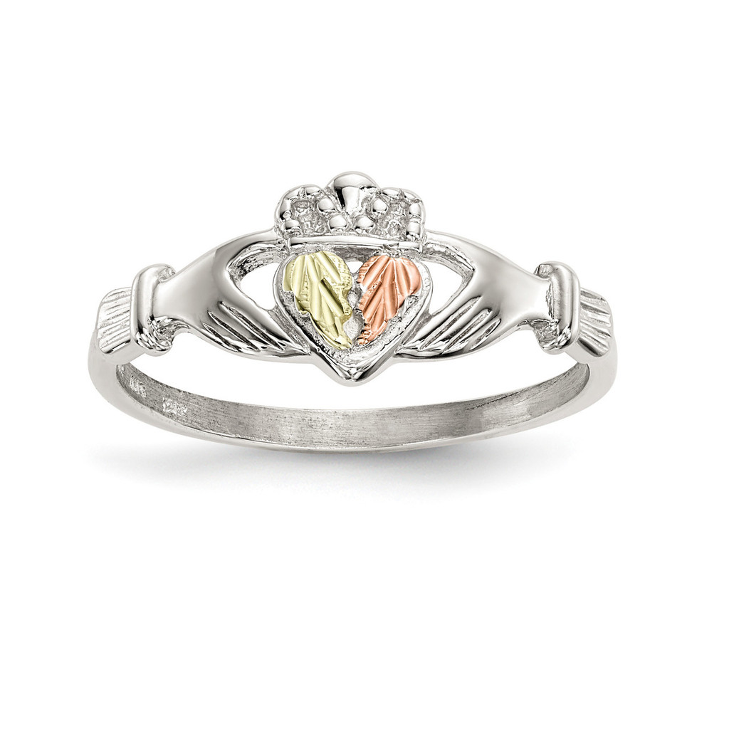 Accents Claddagh Ring 12k Gold Sterling Silver MPN: QBH245, UPC: 784715235345