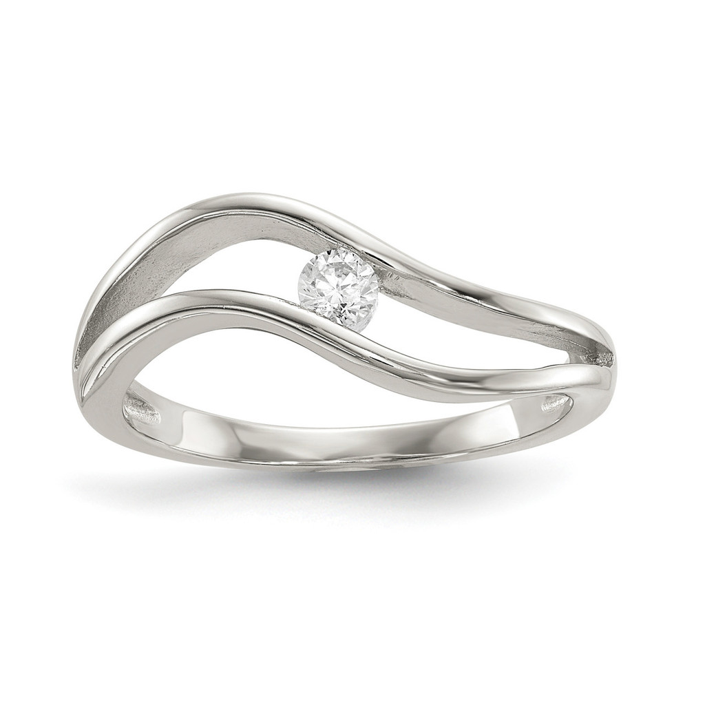 Wavy CZ Ring Sterling Silver Rhodium-plated MPN: QR6640