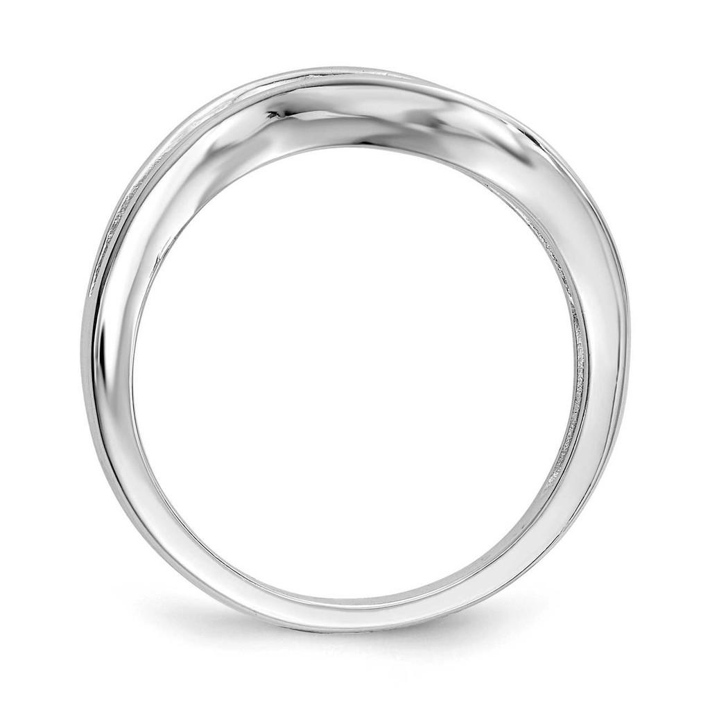 Wavy CZ Diamond Ring Sterling Silver Rhodium-plated QR6640